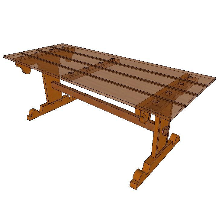 Pied de table pour plateau 05 - Pied pour bureau plateau ...